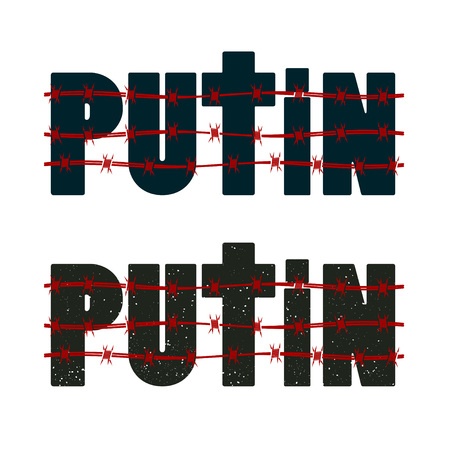 Inscription Putin with barbed wire. illustration