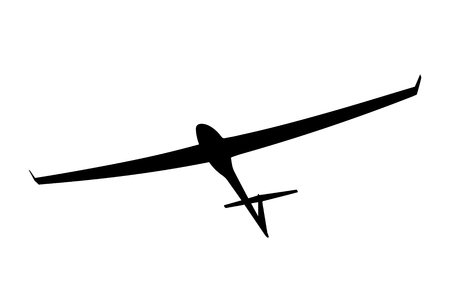 Black silhouette of a glider is not a white background. Vector illustration Illustration