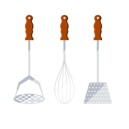 sleek: Set of kitchen metal tools with wooden handles. Sleek style. Vector illustration