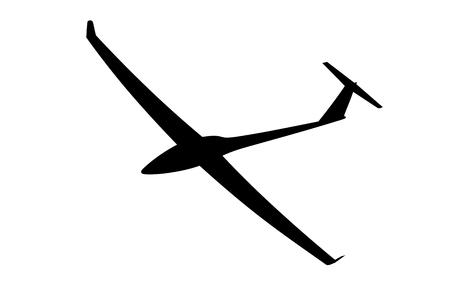 Silhouette eines Segelflugzeugs ist kein weißem Hintergrund. Vektor-Illustration