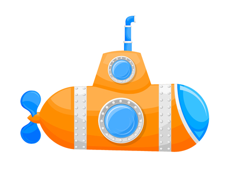 periscope: Cartoon yellow submarine with periscope and a porthole on a white background. Vector illustration Illustration