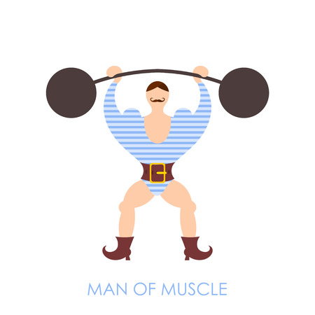 strongman: The flat image of a circus strongman with barbell on a white background. Vector illustration