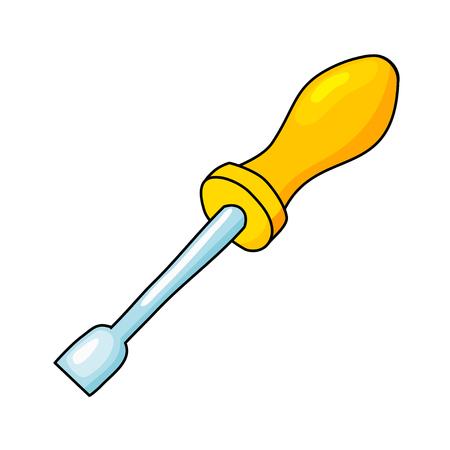 carpentry cartoon: Cartoon image of a yellow screwdriver. Vector illustration