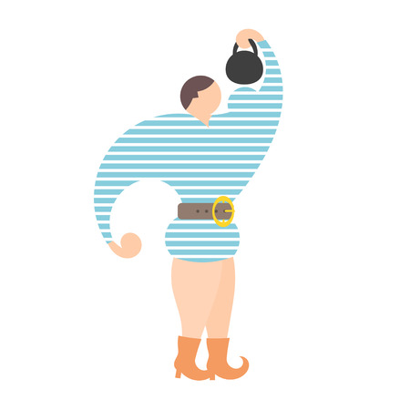 strongman: The flat drawing of a circus strongman with weights on a white background. Vector illustration