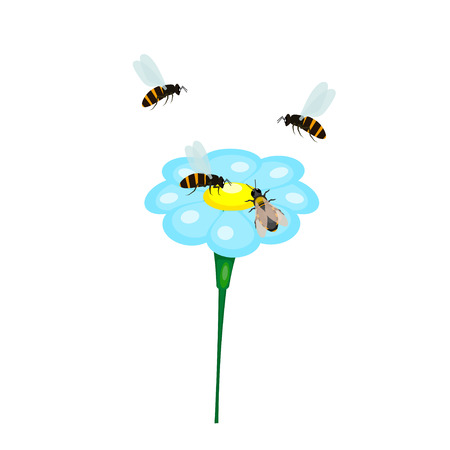 bribes: Bee and a blue flower on a white background. Cartoon drawing. Vector illustration