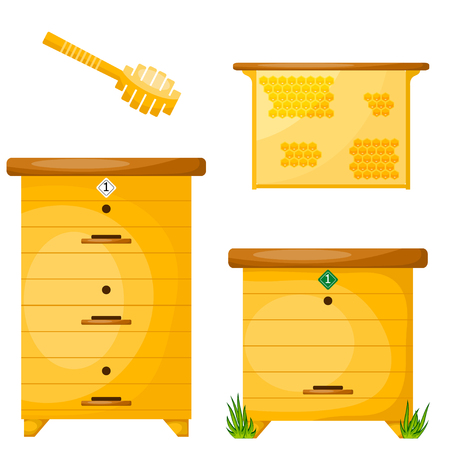proceedings: Set of objects for the production of honey. Items for the production of honey. Cartoon style. Objects apiary: beehive, ladle, frame with wax. Vector symbols apiary. Stock vector