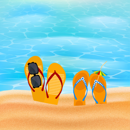 slap: Two pairs slap on the seashore. Beach shoes on the sand with sunglasses and umbrella. The concept of summer vacation. Element for design of travel agency advertising. Beach concept. Illustration of summer vacation. stock vector Illustration