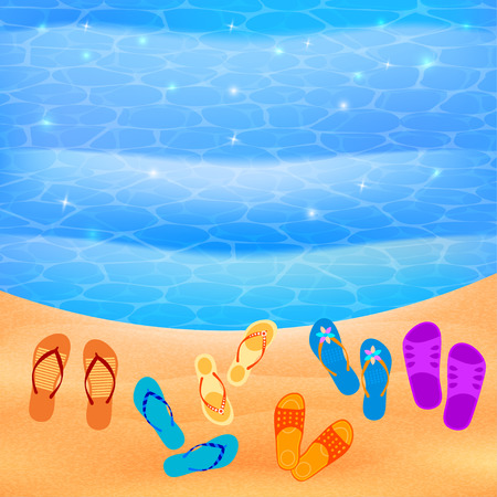stock agency: Beach shoes on the beach. Vector sunny beach with shoes. Illustration of beach Flip-flops on the sand, the beach and the waves. Summer travel concept. Design element for the travel agency. Beach paradise. Stock vector