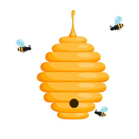 bee house: Yellow bee hive on a white background. Bee hive isolate. Stock Vector illustration of bee house with a circular entrance. Insect life in nature. Bees near the hive. Illustration