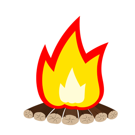 fire wood: Tourist emblem - Illustration Cartoon fire is not white. Bonfire isolate. Tourist fire symbol. Tourist camping sign. Color flame fire wood logs. The concept of natural fossil fuels. Tourist bonfire. stock Vector