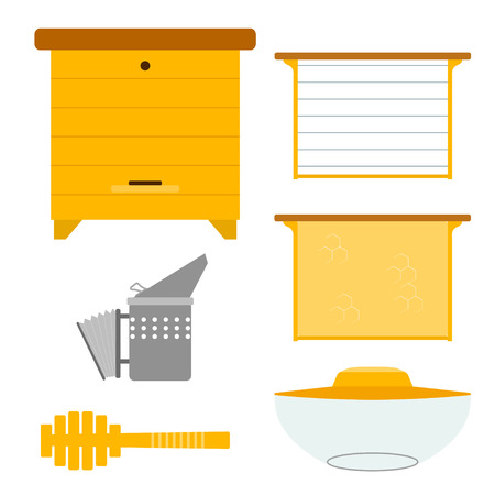 Set of objects for the production of honey. Items for the production of honey. Objects apiary: beehive frame with wax smoker mask. Vector symbols apiary. Stock vector Illustration