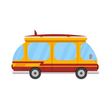 mini bus: Mini bus with a surfboard on a white background. Marching car isolate. Icon summer  vacation and travel. Stock Vector Illustration