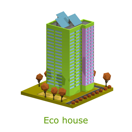 Polygon isometric multi-storey building. Residential house on a white background. Isometric style. Vector illustration of an apartment building with trees, shrubs, highway. Icon isometric house with solar panels. Stock vector