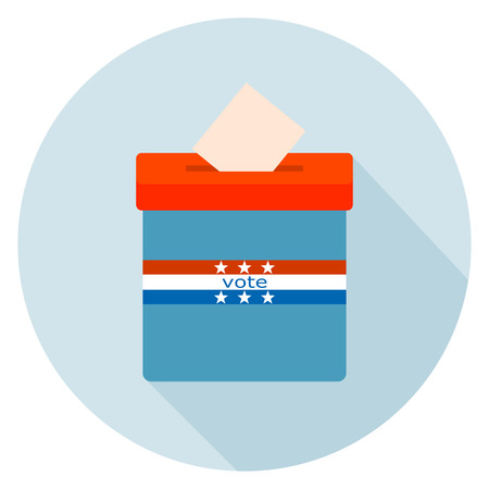 elect: Round Icon blue ballot box. Referendum icon - ballot box with red cap. Symbol of free voting in America symbol. The  concept of a free people. Element for design of the campaign. Vector Stock