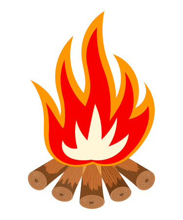 fire wood: Cartoon illustration of a fire is not white. Bonfire isolate. Tourist fire symbol. Tourist camping sign. Color flame fire wood logs. The concept of natural fossil fuels. Tourist bonfire. Stock Vector