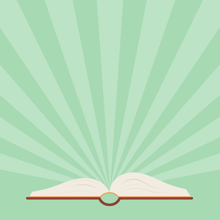 book of revelation: Open book with outgoing beams on a green background. Book with rays - flat style. Poster  with an open book - a symbol of knowledge and learning. news and information symbol.  Stock vector