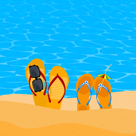 slap: Two pairs slap on the seashore. Beach shoes on the sand with sunglasses and umbrella. Concept of summer vacation. Element  of travel agency advertising. Beach concept. Illustration of summer vacation. Stock vector