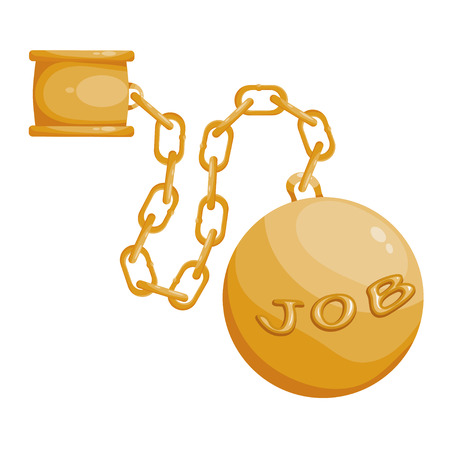 breaking off: Fetters the chain and a large ball on a white background. The concept of hard work. Stock vector