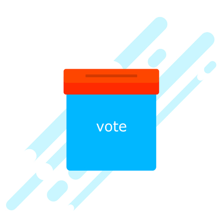 elect: Icon blue ballot box. Referendum icon - ballot box with red cap. Free voting symbol. The concept of a free people. Element for design of the campaign. Stock vector