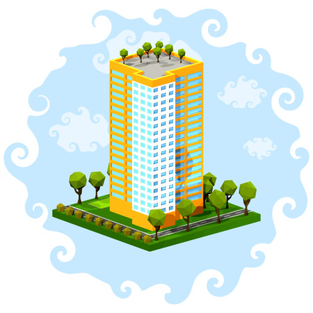 multistorey: Polygon isometric multi-storey building on a blue background. Residential house on a white  background. Isometric style. Vector illustration of an apartment building with trees, shrubs, highway.  Icon isometric house. Stock vector Illustration