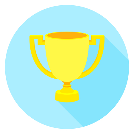 gripping: Simple flat icon gold cup winner with two handles on a pedestal. Vector cup isolate. Vector Icon prize winner of the  competition.  Athletic pride. Stock vector