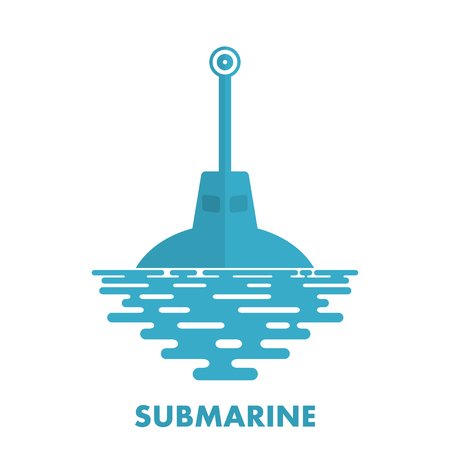 sea water: Periscope military submarine with sea water on a white background. Icon military submarine.  Symbol of the military submarine fleet. Flat periscope of a submarine at sea. Stock vector Illustration