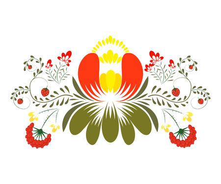 petrikovka: Petrikvsky painting. Flower on a white background. National Ukrainian painting. Petrikovka decorative flowers. Ukraine. Stock vector