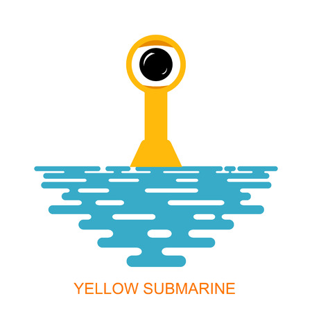 periscope: Periscope Yellow submarine with sea water on a white background. Icon submarine. The symbol of the submarine fleet. Flat periscope of a submarine at sea. Stock vector Illustration