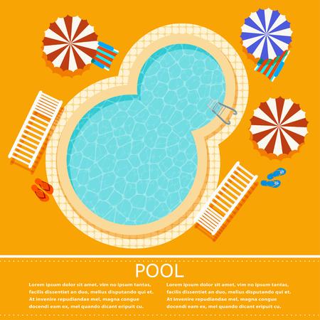 Żółte tło z owalnym basenem. Ilustracja basen na relaks z parasolami, leżakami i krzesłami. Reklama luksusowe wakacje. Basen Vector z czystą wodą. Wektor czas