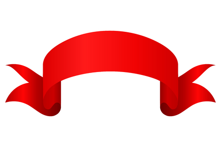 titles: Red tape on a white background. Classical tape titles, isolate. Illustration of a red ribbon  design element. Stock vector