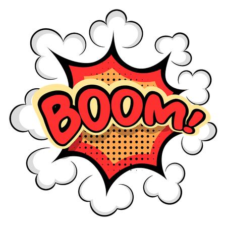 computer crash: Colored Cartoon explosion BOOM! Cartoon explosion on a white background. Comic  speech bubble BOOM! Stock vector Illustration