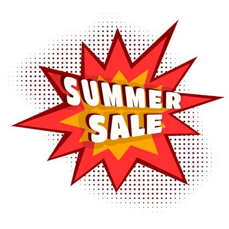 computer crash: Colored Cartoon explosion SUMMER SALE. Cartoon explosion on a white background.  Concept of summer discounts, sales. Comic speech bubble. Stock vector