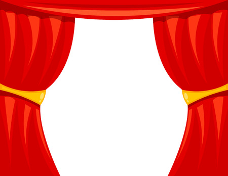 Cartoon theater. Theater curtain on a white background. The scene of the theater, the spectacle. Red silk side scenes on stage. Stock vector