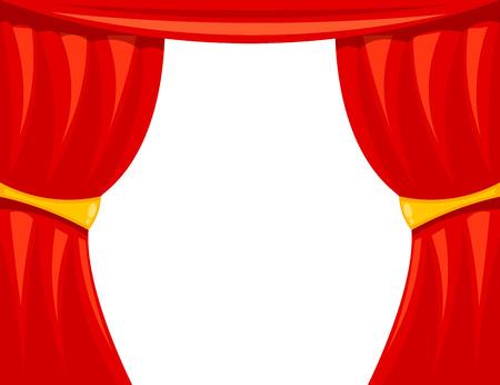 théâtre de bande dessinée. Théâtre rideau sur un fond blanc. La scène du théâtre, le spectacle. Red coulisses de la soie sur scène. illustration vectorielle