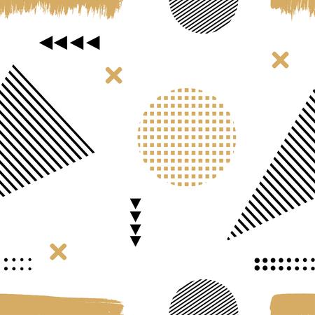 Memphis stijl. De naadloze textuur van stof, prints, afdrukken. Memphis patroon met geometrische ontwerpelementen. Naadloze illustratie van abstracte elementen. Voorraad vector