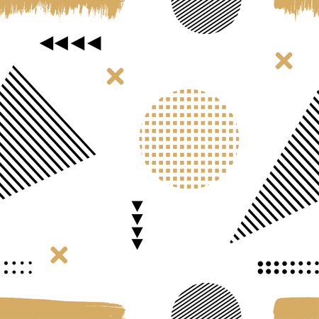 Memphis style. The Seamless texture of fabric, prints, printing. Memphis pattern with geometric design elements. Seamless illustration of abstract elements. Stock vector