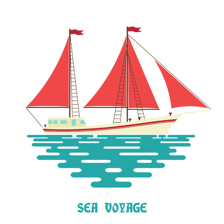 sailfish: Sailing ship on a white background. Sailfish with red sail on the waves of the sea. Flat style.  Color illustration of sea sailing ship on the water. Stock vector Illustration