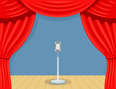 Cartoon Theater mit Mikrofon. Theater Vorhang öffnen. Offene Theatervorhang mit Mikrofon. Rote Seide Seiten Szenen auf der Bühne. stock Vektorgrafik Vektorgrafik