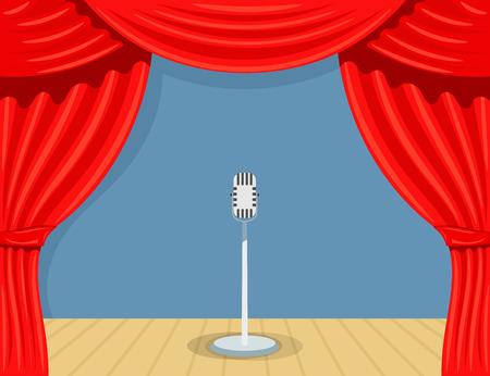 theater cartoon met microfoon. Theater geopende gordijn. Open theater gordijn met microfoon. Rode zijde side scènes op het podium. Stock vector Vector Illustratie