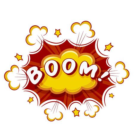 misfortune: Colored Cartoon explosion BOOM! Cartoon explosion on a white background. Comic speech bubble BOOM! Stock vector