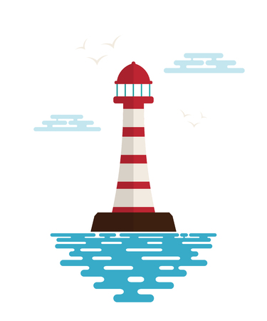 navigational light: Lighthouse with waves, clouds and birds on a white background. Icon lighthouse. Illustration of a lighthouse with the ocean waves - a sign of the marine club or community. Stock vector Illustration