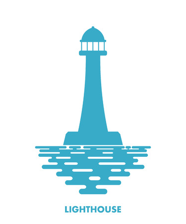 navigational light: Blue lighthouse with waves on a white background. Icon lighthouse. Illustration of a  lighthouse with the ocean waves - a sign of the marine club or community. Stock vector