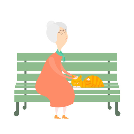 bench alone: The old woman and a cat on the bench. An old woman with a red cat on a green bench.  Cartoon illustration of an elderly woman and a cat on the bench in the park. Stock vector