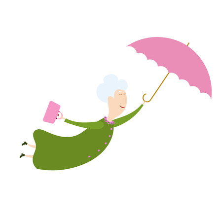 Flying woman with the umbrella. An elderly woman with an umbrella on a white background. Funny old woman flying through the sky with an umbrella. Kind fairy. Stock vector Çizim