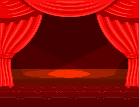 performing arts event: Cartoon theater with spotlights beams. Theater curtain with spotlights beams. Open theater curtain. Red silk side scenes on stage. Stock vector Illustration
