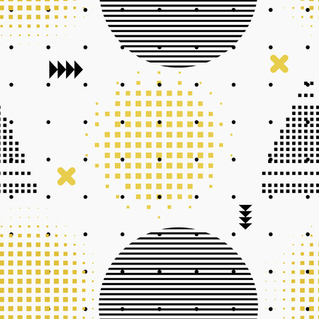 arty: Memphis Vintage style seamless pattern. Texture in Memphis style. Retro fabric, prints, background. Vintage background with abstract design elements. Stock vector
