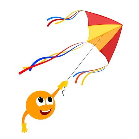 glee: Kite and a smiling face on a white background. Vector illustration kite with smiling face. .  Stock vector Illustration