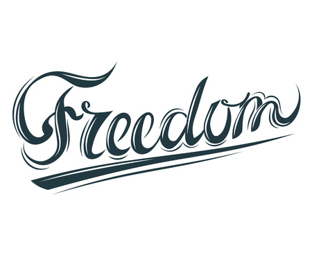 openness: Lettering Freedom. Symbol of youth and openness Freedom. Elegant inscription isolated on white background - Freedom. Vector illustration. Stock vector. Illustration