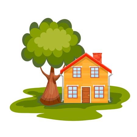 roof windows: Yellow wooden house with green tree on a white background. Country house with a red roof, windows and chimney. Element of design, advertising. Vector illustration, icon. Stock vector Illustration