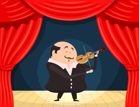 execution: Fiddler on the scene. Vector illustration violinist on stage. Execution of classical music.  Stock vector